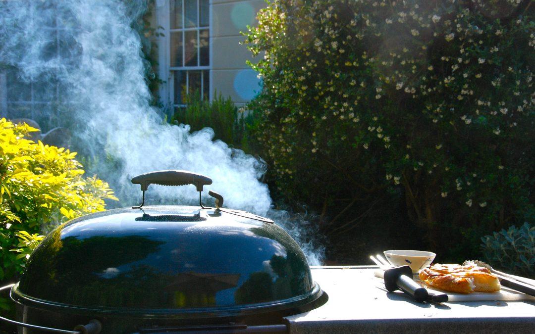 Kip met ketjap en provinciaalse kruiden op de barbecue